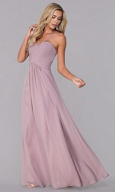 95f40b7a0ae Long Ruched-Bodice Chiffon Prom Dress by Elizabeth K