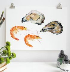 Seafood A5 Digital Art Print A5, Seafood, Food Ideas, Digital Art, Texture, Art Prints, Frame, Illustration, Cards