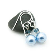 Pearl dangle earrings  Swarovski pearl earring  by atelierblaauw