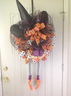 Halloween Wreath lighted Halloween wreath by TammysFlowersandmore, $115.00