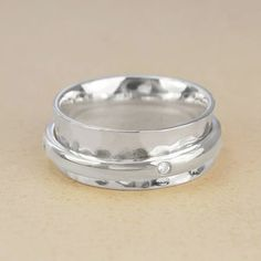 Silver White Topaz Spinning Band Ring
