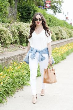 White Tee and White Jeans...