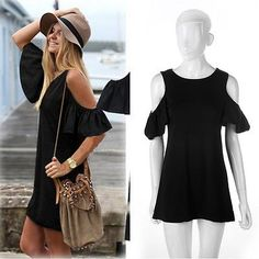 New Fashion Ladies Women Summer Sexy Off Shoulder Loose Casual Dress ZD