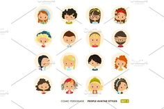 People avatars collection. Set of Hipster avatar icons. Comic personages by the8monkey on @creativemarket