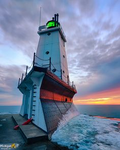 """""""Winters end""""  Ludington Michigan's North Breakwater Lighthouse"""