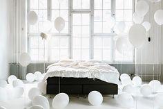 white bedroom #bedroom #balloons