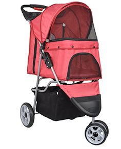 VIVO Three Wheel Pet Stroller for Cat Dog and More Foldable Carrier Strolling Cart Multiple Colors Red * Visit the image link more details.