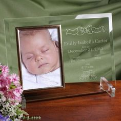 Personalized Baby Beginnings Beveled Glass Picture Frame