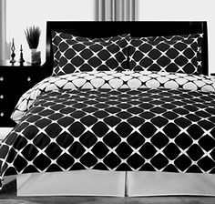 Modern Duvet Print Geometric Pattern 100 Cotton Reversible Black and White  Bedding Duvet Cover and Shams Set Full/Queen Size