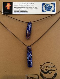 Delfts Blue inspired glass pendants, fumed 24k gold. Terrafuse, by Marian