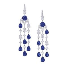 Stunning Sapphire and Diamond Chandelier Earrings by #ronaldabram