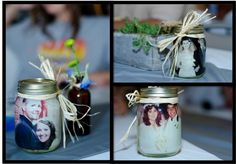 Vintage Mason Jars with pictures for the wedding reception centerpieces.  I put our engagement pictures on one side and my parent's/grandparents' wedding picture on the other side.  Just pour olive oil inside each jar! Then wrap the top in straw.