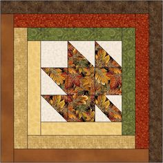 Maple Leaf Log Cabin Quilt Block Pattern Digital Download