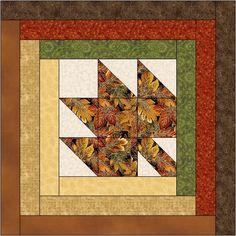 Arce hojas cabaña edredón bloque patrón Digital descargar