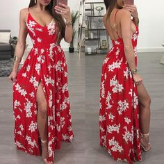 Cheap bandage dress, Buy Quality maxi dress directly from China long maxi dress Suppliers: ZJFZML Hot 2018 New women elegant red floral print dress summer v neck sleeveless long maxi dress sexy high split bandage dress Casual Dresses, Fashion Dresses, Summer Dresses, Long Dress With Slit, Dress Cuts, Pretty Dresses, Stylish Outfits, Beautiful Outfits, Clothes For Women