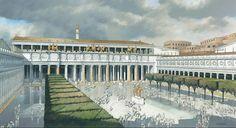 Foro de Trajano. Al fondo Basílica de Ulpia y la columna de Trajano.