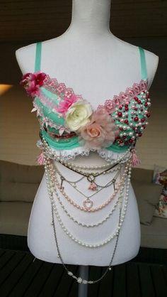 Shabby chic rave bra. Made by Natalie van Beek