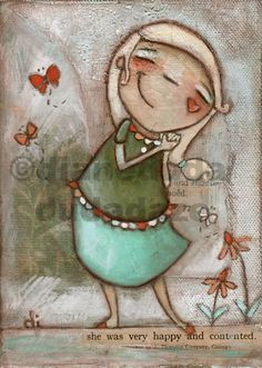 "Orignal Folk Art Painting on stretched Canvas  ""Butterflies and Happiness"" ©dianeduda/dudadaze $45 Art Paintings, Artist Painting, Original Paintings, Cartoon Painting, Comic, Acrylic Art, Stretched Canvas, Mixed Media Artists, Simple Art"