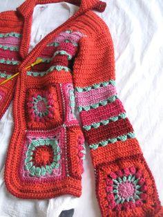 Crochet Cardigan + Diagrams - Best Sewing Tips Gilet Crochet, Crochet Coat, Crochet Shirt, Form Crochet, Crochet Jacket, Crochet Cardigan, Crochet Granny, Crochet Clothes, Crochet Patterns