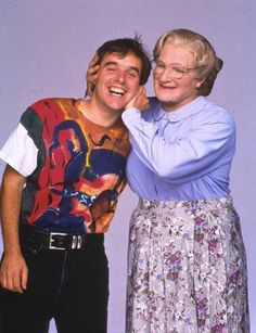 Robin Williams and director Chris Columbus - Mrs. Doubtfire, 1993