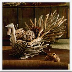 Gobble. Gobble. Realistic wattles and hand-carved heads lend detail to our Driftwood Turkey Bowls. Carefully selected driftwood pieces form each hand-crafted gobbler. Fill with botanical objects, a vessel with a floral arrangement or pumpkins and gourds, for a colorful, textural centerpiece.