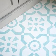 This large tile inspired floor stencil is perfect for adding interest to floors. Use it on bare or painted floorboards, laminate flooring, tiles an. Stencils, Stencil Fabric, Stencil Diy, Stencil Painting, Painted Floorboards, Painted Floors, Diy Flooring, Laminate Flooring, Flooring Tiles