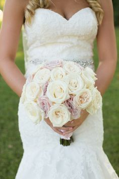 Beautiful DIY Bridal and Bridesmaids' bouquets. She found the best deal on fresh white roses at Sam's that were shipped directly to her house. They clipped, trimmed, and wrapped each bouquet with pink ribbon. Plan My Wedding, Wedding 2015, Wedding Wishes, Wedding Bells, Our Wedding, Wedding Flowers, Dream Wedding, Wedding Dresses, Wedding Decor