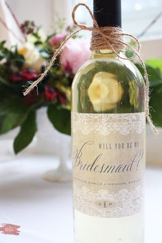 """DIY Bridesmaid Gift - how to remove wine labels and customize a wine bottle with """"will you be my bridesmaid?"""" label."""