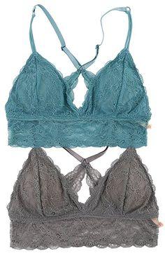 0594ed718af WallFlower Women s Lace Racerback Bralette 2 Pack - Blue   Grey