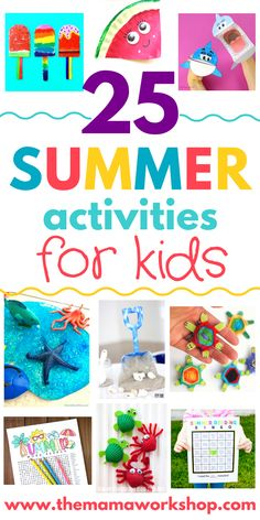 I need all the summer activities for kids ideas I can get! My kiddos get a little (or should I say very) crazy when cooped up inside with nothing to do. So, this list will help us get through summer with less chaos. There are printables, backyard activities, crafts, watermelon and slime ideas! Fun, fun!