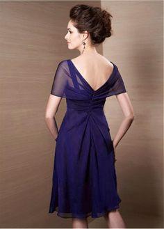 2a3d35d2fd8d Buy discount Charming Chiffon V-neck Cape-sleeves Knee-length A-line