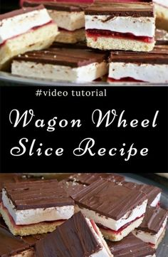 You are going to love this easy wagon wheel slice recipe and it's just so delicious. It tastes exactly like you remember. Watch the video tutorial too. Tray Bake Recipes, Baking Recipes, Cookie Recipes, Dessert Recipes, Lunch Recipes, Thermomix Desserts, Nutella, Cooking Videos Tasty, No Bake Slices