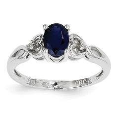 14k White Gold Sapphire Diamond Ring XBR390