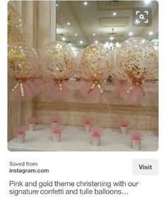 Pink and gold tulle glitter balloon centerpiece