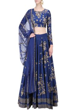 Navy zari and sequins floral motif lehenga set available only at Pernia's Pop Up Shop.