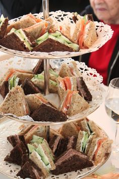 sandwiches w cute lace stand. I love this idea Andrea. Lots of color is so cute