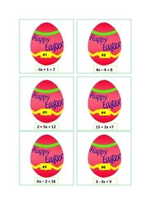 A fun math game for Easter - solving 2 step equations. A set of 30 Easter Egg Equation cards and 30 corresponding Easter Bunny solution cards.