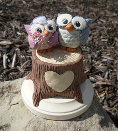 Woodland Owls Wedding Cake Topper  Made to order  von WorkofWhimsy, $150.00