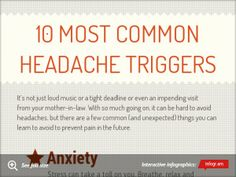 10 most Common headache triggers My biggest is trigger is definitely anxiety which is not the same thing as feeling stressed. Most Common, Feeling Stressed, Anxiety, Feelings, Health, Anxiety Awareness, Salud, Health Care