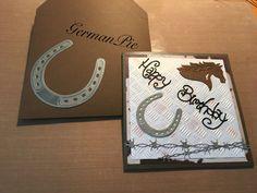 Geburtstagskarte, Pferdekopf, Hufeisen, Stacheldraht, schneiden,  prägen,  Birthday card, horse, horseshoe, barbwire, distress ink, die cutting, embossing,
