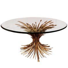 Italian Hollywood Regency Style Sheaf of Wheat Coffee Table