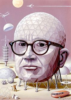 """""""Boris Artzybasheff's Portrait of R. Buckminster Fuller for the Jan. 1964 cover of Time Magazine""""Inspired by OMNI pioneers. Created for OMNI fans. Buckminster Fuller Quotes, Richard Buckminster Fuller, Time Magazine, Magazine Covers, Bucky, John Pawson, Oscar Niemeyer, Geodesic Dome, Eames"""