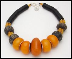 TIBETAN GOLD - Ancient African Spindle Whorls - Tibetan Amber - 1 of a Kind Statement Necklace by sandrawebsterjewelry on Etsy