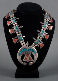 Sterling silver, turquoise and coral thunder bird necklace