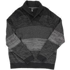Alfani Mens Colorblock Shawl Collar Pullover Sweater