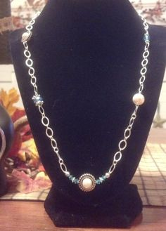 Oval chain Swarvoski Blue Bead and White by JewelsNSuchByMichele, $26.00