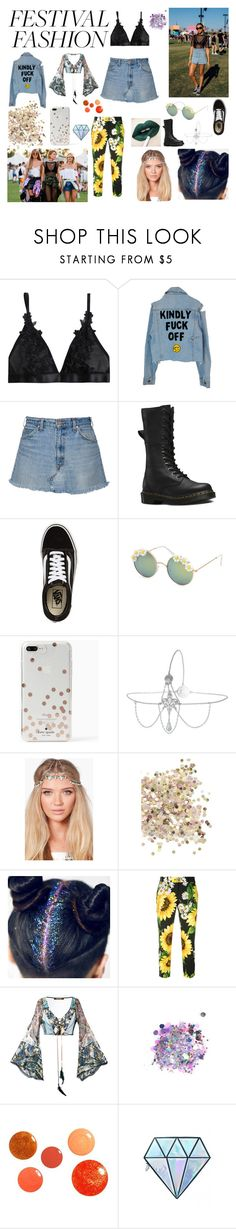 """""""Festival Fashion"""" by freyarose224 ❤ liked on Polyvore featuring Dr. Martens, Vans, Full Tilt, Kate Spade, Miss Selfridge, Boohoo, Topshop, Dolce&Gabbana, Roberto Cavalli and The Gypsy Shrine"""