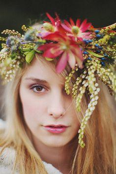 organic, romantic floral hair wreaths by McKenzie Powell Floral and Event Design - photo by Ryan Flynn Photography   via junebugweddings.com