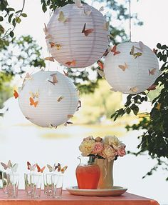Paper Lanterns (Best Ideas) Party Theme- Fairy Inspiration, Garden Theme or Butterfly Theme.Party Theme- Fairy Inspiration, Garden Theme or Butterfly Theme. Butterfly Birthday Party, Butterfly Wedding, Butterfly Garden Party, Garden Birthday, Butterfly Baby Shower, Garden Party Decorations, Butterfly Party Decorations, Paper Lantern Decorations, Lanterns Decor
