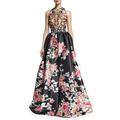 Zuhair Murad Sleeveless Floral-Print Ball Gown ($7,930) found on Polyvore featuring women's fashion, dresses, gowns, gown, floral, white gown, white sleeveless dress, white evening dresses, white floral dress and white beaded gown